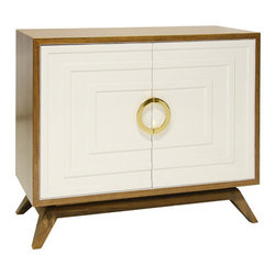 Worlds Away - Worlds Away Hardwood Veneer 2-Door Cabinet with White Lacquered Doors BERNARD RW - Hardwood Veneer 2 Door Cabinet with White Lacquered Doors, Stained Hardwood Base and Brass Hardware. Interior Is Comprised Of 1 Adjustable Shelf and Drill Out.