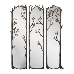 Uttermost Perching Birds Decorative Mirror Set/3 - Heavily antiqued silver leaf finish with a charcoal gray wash and burnished distressing. Statuesque, decorative set of mirrors features a heavily antiqued silver leaf finish with a charcoal gray wash and burnished distressing.