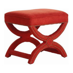 Arteriors Home Tennyson Coral Linen Stool with Brass Studs