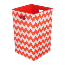 Modern Littles - Bold Red Chevron Folding Laundry Basket - Keep laundry tidy, organized and add a pop of colorful decor to a room with this folding laundry bin. Perfect for the bathroom, closet or laundry room, it folds flat when not in use for easy storage, and the lightweight design features handles for effortless carrying.