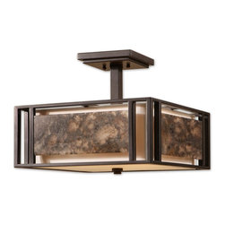Carolyn Kinder - Carolyn Kinder 22268 Quarry Transitional Semi Flush Mount Ceiling Light - Slabs of marble over an ivory shade create a simple linear feeling that works with a broad range of looks, effective whether contemporary, transitional, or rustic. Designed by Carolyn Kinder.