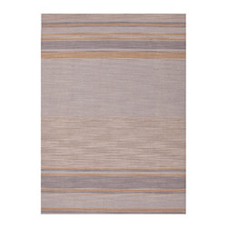 Pura Vida Ashwood and Classic Gray Rug - 2.6' x 8' - Desirable neutral hues in gently heathered tones play with perspective to expand the space of a room, making the Pura Vida striped wool rug in Ashwood and Classic Gray a defining piece with a glamorous palette of warm highlights and cool shadows. This rug is flat-woven from wool fibers dyed with an elite traditional process, making the floor covering reversible and crafted for durability.