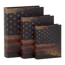 Contemporary Styled Wood Book Box, Set of 3 - Description: