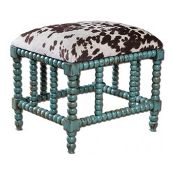 "Uttermost - Chahna Small Bench - Aqua blue finish on solid, plantation grown mango wood with cushioned seat in plush, dark chocolate and milky white velvet. Dimensions: 22""W X 18""D X 19""H; Seat Color: Brown, White; Finish: Blue; Assembly: Fully Assembled; UL Approved"