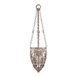 Fine Art Lamps - Winter Palace Pendant, 308840ST - Ice-kissed lead crystals form the basket of this fanciful fixture, the perfect addition to your favorite setting. An antiqued silver finish and simple chain complement the piece superbly.
