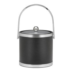 Kraftware - Sophisticates 3-qt. Ice Bucket in Black w Track Handle - Features brushed chrome bands and metal cover. Classic black leatherette elegance. Made in USA. 9 in. W x 9 in. D x 9 in. H (3 lbs.)Always as appropriate as a formal Tuxedo at a reception.