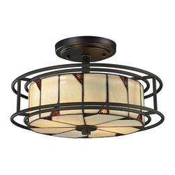 Dale Tiffany - Dale Tiffany TH12456 Woodbury Traditional Semi Flush Mount Ceiling Light - Today's contemporary style meets blends with the craftsmanship of Louis Comfort Tiffany in the DT Contempo Collection. Your decorating options are limited only by your imagination with our Woodbury semi-flush mount fixture. The circular shade is crafted of light amber art glass panels. Triangular insets in rich, dark amber are placed in alternating corners on both the bottom and sides of the shade to create a one of a kind glow when the fixture is lit. The shade hangs from a metal ceiling canopy and is surrounded by a cage of concentric metal circles, all finished in dark bronze. A unique ceiling light in any room, Woodbury is a beautiful way to greet your guests when used in foyer or entryway. No matter how you choose to display it, Woodbury will provide your family with years of stylish, reliable lighting service.