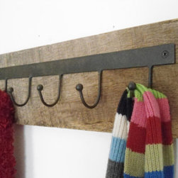 Rustic Reclaimed-Wood Industrial Hooks by Riri Creations - If you want to use your space wisely, why not hang your towels from hooks?