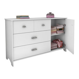 South Shore - South Shore Sabrina 3 Drawer Single Dresser in Pure White - South Shore - Dressers - 3650028 - This chic dresser will give a glamor flair to your little princess room. The jewel like chromed metal handles will charm younger and older girls alike.  With its vertical compartment divided by a fixed shelf and three spacious drawers the Sabrina dresser in Pure White finish is a convenient solution for storing clothes even bigger sweaters. The drawers are equipped with polymer glides including damper and catches.