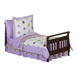 Sweet Jojo Designs - Purple Mod Dots Toddler Bedding Set - The Sweet Jojo Designs Purple and Chocolate Mod Dots 5 pc. toddler bedding set has all that your little one will need. This modern children's bedding set uses exclusive Jojo Designer coordinating 100% cotton prints. The 3 prints are made in a color palette of soft purple, lavender, cocoa brown, white and chocolate. They include large dots, bold stripes, and mini dots prints. This set will create a stylish room that your little one is sure to enjoy. Sweet Jojo Designs Mod Dots bedding set is stylish and fashionable and comes brand new, in a zippered, handled carrying bag. This set is made of 100% cotton and made exclusively by Sweet Jojo Designs.