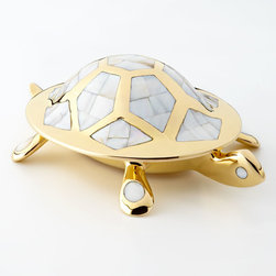 """Jonathan Adler - Brass Turtle Box - Jonathan AdlerBrass Turtle BoxDetailsTurtle box sand cast in solid brass.Detailed with shimmery pieces of abalone.Brass will patina over time.7""""W x 9.25""""D x 5""""T.Imported.Designer About Jonathan Adler:Potter designer and author Jonathan Adler launched his first ceramics collection in 1994. His design philosophy: create a foundation of timelessly chic furniture and accessorize with abandon. With his roots still firmly in pottery he has expanded to become a complete lifestyle brand offering furniture lighting decorative objects fashion accessories and more. He is dedicated to bringing style craft and joy to life."""