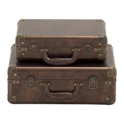 Benzara - Sleek and Modern Style Wood Leather Case Set of 2 Home Decor - Description: