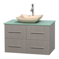Wyndham Collection - 36 in. Single Bathroom Vanity in Gray Oak, Green Glass Countertop, Avalon Ivory - Simplicity and elegance combine in the perfect lines of the Centra vanity by the Wyndham Collection . If cutting-edge contemporary design is your style then the Centra vanity is for you - modern, chic and built to last a lifetime. Available with green glass, pure white man-made stone, ivory marble or white carrera marble counters, with stunning vessel or undermount sink(s) and matching mirror(s). Featuring soft close door hinges, drawer glides, and meticulously finished with brushed chrome hardware. The attention to detail on this beautiful vanity is second to none.