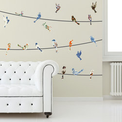 Patrick Weber - Wall Decal - China Birds on a Wire - These beautiful china plate birds on a wire wall decals are the perfect blend of urban living and sophistication. We call it sophistiban livin'. Add this lovely wall art to your sophistiban home to complete the look we know you've been going for. Included: (22) Pattern Birds 5-8 in. wide(6) Wires 3 ft. wide (can be combined to make two 9 ft. wires)