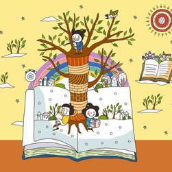 Wallmonkeys Wall Decals - Children on Open Book by Tree Trunk Wall Mural - 18 Inches W x 16 Inches H - Easy to apply - simply peel and stick!