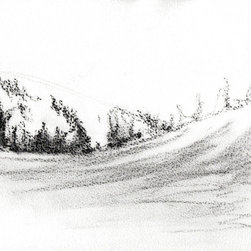 """Ann Rea - Bring home Dear Valley, Utah with """"Drifting"""" charcoal on paper by Ann Rea - """"The shifting forms of snow drift like the shadows."""" -Ann Rea"""