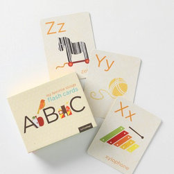 """My Favorite Things Flashcards - Though these are bound to provide hours of fun and stimulation as flash cards, we love these alphabet graphic cards for their ability to add that unique and special touch to a nursery room's border, when tacked up in a horizontal line.Set of 26 cardsCardstock7""""L, 5.5""""WImported"""