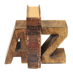 ecWorld - Urban Designs Artisan Hand-Carved Capital A to Z Natural Wooden Bookends - Book smart. A to Z bookends from Urban Designs alphabetize reading materials in the living room, kid's room or home office in Hand-carved bold capital letters. Ready to display.