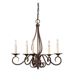 Savoy House Lighting - Savoy House Lighting KP-95-5-91 Bryce 5 Light Chandeliers in Sunset Bronze - The Bryce collection delights in a Sunset Bronze finish with detailed iron leaf ornamentation on the wall sconces. The soft curls create that clean classic look you are looking for your home.