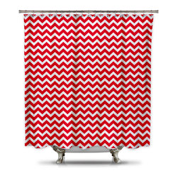 Shower Curtain HQ - Red and White Chevron Shower Curtain, Extra Long - This red and white chevron shower curtain is perfect for fitting into all your holiday decor and is simple enough to leave up for Valentine's Day.