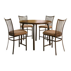 """Sunset Trading - Counter Dining Set - Includes Table and 4 Stools. 1 year warranty against manufacturer defects. Table: 45.25 in. W x 45.25 in. D x 34.5 in. H (55.29 lbs). Stool: 24 in. W x 19 in. D x 40.5 in. H (24.25 lbs). 24 in. Seat HeightComfortably casual yet contemporary and sophisticated, the Bellevue 24"""" Barstool  is perfect for dining and entertaining with your family and friends.  Versatile for use in your dining area, family room or media/game room"""