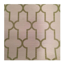 """Pre-owned Phillip Jeffries Grasscloth Wallpaper - New stock of gorgeous Phillip Jeffries Moroccan Grasscloth #5144 in green on white.     32 yards in 2 bolts --- 8 yards + 24 yards  Width: 36 Inches Trims To 33 3/4  Repeat: Horizontal 3.75""""; Vertical 7.5"""""""
