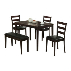 Monarch Specialties - Monarch Specialties I 1211 Cappuccino 5 Piece Dining Room Set w/ Bench & 3 Side - This casual dining set is the perfect solution for small kitchens or dining spaces. The sleek rectangular dining table features tapered square legs that adds a modern appeal. The side chairs have horizontal curved back slats and are upholstered in padded easy care leatherette material. Not only is the bench ideal for small spaces, it concludes the unique and trendy look of this dining ensemble. Finished in a dark Cappuccino, this cool contemporary five piece dinning set is a great addition to any home or apartment. Dining Table (1), Dining Chair (4)