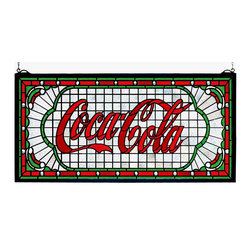 "Meyda Tiffany - Meyda Tiffany Meyda Originals Window Sill Tiffany Window Art in Tiffany Items - Shown in picture: Coca-Cola Victorian Web Stained Glass Window; One Of The Most Recognizable And Iconic Symbols Of Our Time ""Coca - Cola"" A True American Original Has Teamed Up With Another True American Original ""Meyda Tiffany"" To Offer These Beautiful One Of A Kind Stained Glass Windows."