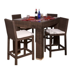 International Home Miami - Atlantic Monza 5-Piece Patio Bar Set Rectangular - Great quality, stylish design patio sets, made entirely of high quality resin. No metal parts. I won't rust. Polyester cushion with water repellant treatment. Enjoy your patio with elegance all year round with the wonderful Atlantic outdoor collection.