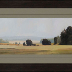 Paragon Decor - Bright Day Artwork - A entrancing landscape is matted in green and framed in a wood finish molding.