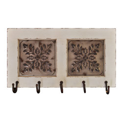 "Lightaccents - Distressed Wood with Vintage Iron Hooks, Distressed White - An attractive and functional wall-mounted distressed shabby chic shelf for the home. Great for adding a touch of elegance for the home entry. These shelves are built out of pine in an antique, distressed fashion. This means that they have knots, imperfections, nail holes of the wood left in them so that they have an old appearance, even with the plain color of paint. Great for that ""worn"" look."
