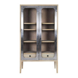 Contemporary Wood And Stainless Steel Display Cabinet - Double-doored and designed for display, this artsy, industrial-inspired cabinet will showcase its contents within the frame of gleaming stainless steel. Its foundation is fashioned of solid oak and stands boldly on four tall legs, creatively blending modern, rustic, and international styles all in one.
