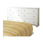 South Shore - South Shore Breakwater 6 Drawer Double Dresser in Pure White Finish - South Shore - Dressers - 3150010 - The Breakwater Double Dresser is constructed from laminated particle board with a pure white finish. This double dresser features six large drawers for all your storage needs. It has Smart Glide drawer slides for a smooth gliding motion and metal knobs for easy access. The simple, yet elegant Breakwater Double Dresser will fit comfortably in your bedroom.