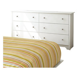 South Shore - South Shore Breakwater 6 Drawer Double Dresser in Pure White Finish - South Shore - Dressers - 3150010 - The Breakwater Double Dresser is constructed from laminated particle board with a pure white finish. This double dresser features six large drawers for all your storage needs. It has Smart Glide drawer slides for a smooth gliding motion and metal knobs for easy access. The simple yet elegant Breakwater Double Dresser will fit comfortably in your bedroom.The transitional style of the Breakwater collection from South Shore Furniture provides a calming comforting atmosphere to any bedroom. It features simple clean lines that are softened by a decorative kickplate. The beauty of the finish is enhanced by metal hardware for a stylish contrast. The minimalist design of the South Shore Furniture Breakwater collection is perfect for today's styles.Features:
