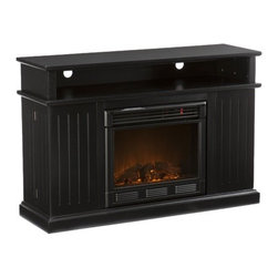 """Wildon Home � - Julian 48"""" TV Stand with Electric Fireplace - Simplicity and function are the key features of this media fireplace console. Two swing-out doors each provide four storage shelves and secure with a magnetic closure. One long open shelf provides space for media equipment and 2 openings in back for cord management. The fireplace provides ambiance and function without the need for an electrician or contractor for installation. Features: -Secure magnetic shelf closure.-Two cord management options in the back of the unit.-Great media storage accessory.-Remote control (2 AAA Batteries Required).-Realistic flickering flame effect.-Long life LED lights.-Easy to use adjustable thermostat.-Safety thermal overload protector.-Adjustable flame brightness control.-Plugs into standard wall outlet.-100% energy efficient with low operating costs.-Produces zero emissions or pollutants.-Eco friendly, consuming no wood or fossil fuels.-No combustion, glass remains cool to the touch.-Accommodates up to a 50'' flat screen TV.-Max weight capacity: 85 lbs.-Constructed of poplar wood, MDF and PB with veneer.-Distressed: No.Specifications: -Tested to heat 1500 cubic feet in only 24 minutes (14'x14'x8').-120V-60Hz, 1500W / 5000 BTUs, 12.5 Amp.Dimensions: -Eight spacious storage shelves: 8'' W x 6'' D x 10.25'' H.-Firebox front: 20'' H x 23'' W.-Overall Product Weight: 140 lbs."""