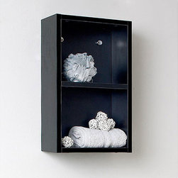None - Fresca Black Open Storage Bathroom Linen Cabinet - The Fresca linen cabinet features two large open storage areas. This side cabinet has a beautiful black finish,making it a wonderful complement to any bathroom.