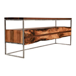 Anton Maka Designs - Flitch Media Console - Black walnut top with live edge walnut slab drawer. Framed with solid square steel bar brushed steel finish. Low, sleek profile to accommodate a sizable plasma TV. One long fixed shelf stows electronic components & one drawer store audio and visual media.