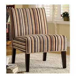 Homelegance - Armless Lounge Chair with Vertical Stripe Design - Multi-colored stripe pattern.