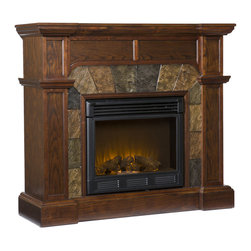 Holly & Martin - Cypress Electric Fireplace, Espresso - This fireplace features a fabulous espresso hue that is accented with decorative earth tone tiles that arch over the firebox. Sleek columns on either side complement the crown molding that accents the top of this fireplace. This particular fireplace is designed with the capability of fitting against a flat wall or in a corner with ease. Requiring no electrician or contractor for installation allows instant remodeling without the usual mess or expense. In addition to your living room or bedroom, try moving this fireplace to your dining room for a romantic dinner or complement your media room with a vent less fireplace below your flat screen television. Use this great functional fireplace to make your home a more welcoming environment.