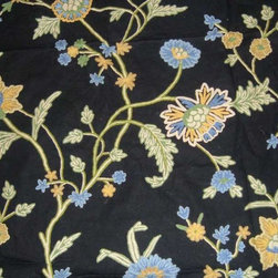 Crewel Fabric World by MDS - Crewel Fabric Shalimar Bright Blues on Black Cotton Duck- Yardage - History: Shalimar Crewel Fabric was developed artisans in Kashmir with .Later Jahangir,built the Shalimar Garden in Delhi for his beloved wife Noor Jahan,modeled after the fabulous Shalimar Garden in Kashmir in around 1619.