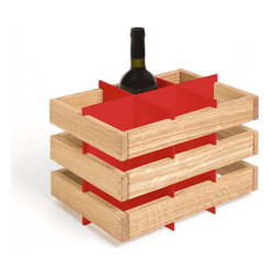Rustic Wooden Wine Rack, Red - It's a simple wine rack that can be stacked, placed on another piece of furniture, or wall-mounted side-by-side.