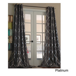 None - Casablanca Modern Metallic Trellis Pattern Curtain Panel - Graphic yet subtle, this Casablanca panel offers a touch of modern style to your windows. This contemporary panel features a bold silver metallic trellis pattern with a subtle shimmer for a trendy addition to your home decor.
