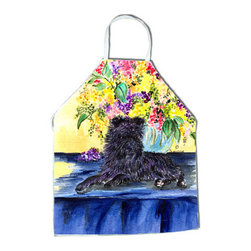 Caroline's Treasures - Affenpinscher Apron - Apron, Bib Style, 27 in H x 31 in W; 100 percent  Ultra Spun Poly, White, braided nylon tie straps, sewn cloth neckband. These bib style aprons are not just for cooking - they are also great for cleaning, gardening, art projects, and other activities, too!