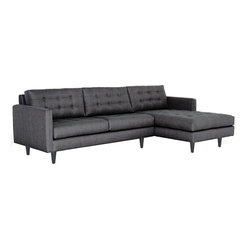 Beverly 2-piece Sectional Sofa, Charcoal, Chaise on Left