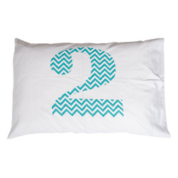 Jules Johnson Interiors - Jules Johnson Interiors Chevron Number 2 Pillowcases - Everyone has a number, what's yours? Designer Jules Johnson believes that everyone has a number that plays into their everyday life as a computer password, lottery ticket numbers, or other numeric need. Express your number with Jules Johnson Interiors' Turquoise Chevron Number 2 Pillowcase. With new, unique number pillows released every year, build an ordinal set or just go crazy with lucky #2.Set of 2 pillowcasesNew number pillow design every yearSmart, simple design with bold print
