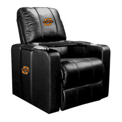 Dreamseat Inc. - Oklahoma State University NCAA Cowboys Home Theater Plus Leather Recliner - Check out this Awesome Leather Recliner. Quite simply, it's one of the coolest things we've ever seen. This is unbelievably comfortable - once you're in it, you won't want to get up. Features a zip-in-zip-out logo panel embroidered with 70,000 stitches. Converts from a solid color to custom-logo furniture in seconds - perfect for a shared or multi-purpose room. Root for several teams? Simply swap the panels out when the seasons change. This is a true statement piece that is perfect for your Man Cave, Game Room, basement or garage. It combines contemporary design with the ultimate comfort from a fully reclining frame with lumbar and full leg support.
