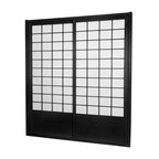 """Oriental Furniture - 7 ft. Tall Zen Shoji Sliding Door Kit (Double - Sided) - Black - This fantastic Zen Shoji Sliding Door Kit (Double-Sided) comes with sliding doors, top and bottom tracks, and right and left door jambs. Rough opening (outside dimension) approximately 83.00""""H x 73.50""""W x 3.50""""D. Tracks and jambs are approximately 1.75"""" Thick x 3.50"""" Deep. Each door measures approx. 36.00""""W x 80.00""""H x 1.00""""D."""