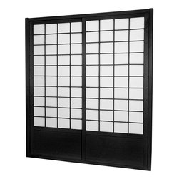 "Oriental Furniture - 7 ft. Tall Zen Shoji Sliding Door Kit (Double - Sided) - Black - This fantastic Zen Shoji Sliding Door Kit (Double-Sided) comes with sliding doors, top and bottom tracks, and right and left door jambs. Rough opening (outside dimension) approximately 83.00""H x 73.50""W x 3.50""D. Tracks and jambs are approximately 1.75"" Thick x 3.50"" Deep. Each door measures approx. 36.00""W x 80.00""H x 1.00""D."