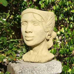 Designer Stone African Queen Head Planter - Give your plants a face you can speak to with the Designer Stone African Queen Head Planter. This gorgeous planter is adorned with a tribal necklace with jewelry and her hair all wrapped in a scarf. As shrubbery accrues, style it as if it were her hair. This fun planter is suited for six-inch plants and features a weatherproof seal to prevent damage from outdoor exposure. Conveniently plumbed, this planter provides you with quick and easy direct planting.About Designer StoneSince 1999, the family-owned Designer Stone has been proudly manufacturing American made garden variety stoneware in a creative range of prices and functions for every standard of living. With artist designed sculptures and planters, Designer Stone's aim to create spiritually moving and enlivening pieces intends to evoke the precious moments from a garden that remind us who we are and what we do. With every purchase backed by a no-hassle guarantee, Designer Stone promises high-quality products that will enhance your home or garden, no ifs ands or buts.