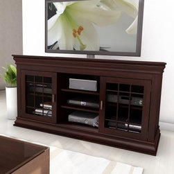Sonax B-231-NCT Carson 60 in. Wood Veneer TV / Component Bench - Electronics can be cold. Create a warmer entertainment space with the mantle-like Sonax B-231-NCT Carson 60 in. Wood Veneer TV / Component Bench. Crafted with a solid wood and veneer frame this media bench boasts a dark espresso stain striking crown molding central open shelving and two shaker-style windowpane tempered glass doors that open to adjustable shelves. Supports TVs up to 68W inches. About SonaxLocated just outside Vancouver Canada Sonax has been producing top-quality contemporary furnishings for over 30 years and now ranks among Canada's largest ready-to-assemble furniture makers. Sonax's color palettes are inspired by the wood tones found in Canada's Pacific forests and their designs have an easy-to-assemble sensibility with a truly West Coast flair. With so many inspirations springing from their natural surroundings Sonax always considers the environment by producing furniture that is renewable safe and built to last.